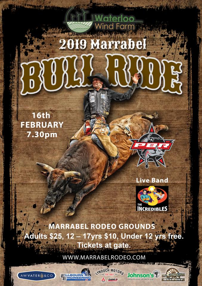 Waterloo Wind Farm Marrabel Bull Ride 16th Feb 2019