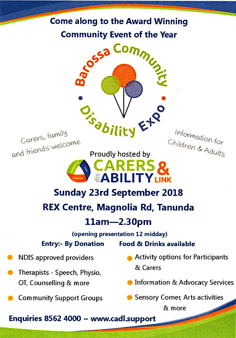Barossa Community Disability Expo - 23rd Sept 2018
