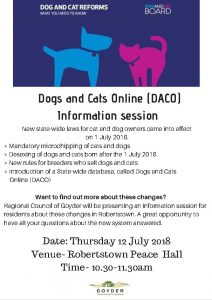 Dogs and Cats Online (DACO) - Information Session 12th July @ Robertstown Peace Hall | Robertstown | South Australia | Australia